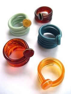 Knitting needle rings