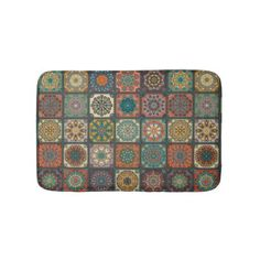 #Vintage patchwork with floral mandala elements bathroom mat - #Bathroom #Accessories #home #living