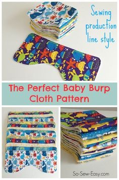 Sewing Clothes The perfect baby burp cloth pattern, and how to sew them production line style. The perfect baby burp cloth pattern. Designed to fit 3 perfectly onto a fat quarter, this burp cloth pattern can be made in super-quick time Burp Cloth Patterns, Sewing Patterns Free, Free Sewing, Baby Patterns, Clothing Patterns, Skirt Patterns, Baby Sewing Projects, Sewing For Kids, Sewing Hacks