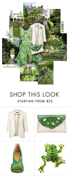 """Romantic Green"" by sagramora ❤ liked on Polyvore featuring PATH, WithChic, Charlotte Olympia and Nine West"