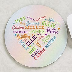The Close To Her Heart Personalized Round Mouse Pad will remind her of those that love her the most at home or at work. This mouse pad will be custom printed with up to 21 names in a heart shape in your choice of 5 color options. Perfect Mother's Day Gift, Great Gifts For Mom, Personalized Garden Stones, Word Art Design, Personalised Blankets, 90th Birthday, Blanket Sizes, Heart Patterns, Shadow Box