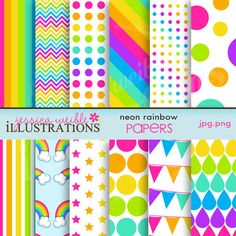 Neon Rainbow Cute Digital Papers for Card Design, Scrapbooking, and Web Design. $5.00, via Etsy.