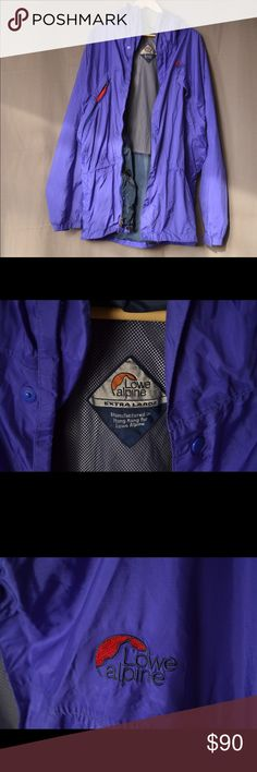 Vintage Lowe Alpine light rain jacket, XL Perfect vintage rain jacket, from my own personal wardrobe. Made by Lowe Alpine with Triple Point Ceramic which was their version of Goretex. Made in Hong Kong so probably early 90's. Has underarm vents. Very breathable. Looks royal blue in some lighting, purple in others. Men's size XL Vintage Jackets & Coats Raincoats