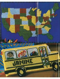 Plastic Canvas Patterns Map of the United States and Add fun to learning with this brightly colored map of the United States and a personalized pencil storage box. Each design is made using colored 7-count plastic canvas and worsted-weight yarn.  (aff link)