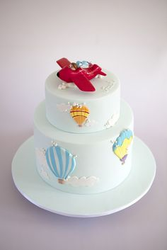 sweet tiers - christening - christening cake - airplane & hot air balloons cake