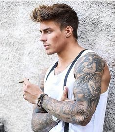 Want to have a sleeve tattoos? If your answer is yes, you should definitely look at these arm, forearm, half tattoos - Best Sleeve Tattoos for Guys in 2020 Johnny Edlind, Hot Guys Tattoos, Beard Styles, Hair Styles, Inked Men, Hommes Sexy, Haircuts For Men, Gorgeous Men, Hair Inspiration