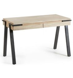 Design industrial DISSET 70 x 125, mesa de madeira de acácia