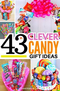 43 Creative Candy Gift Ideas Over 41 CANDY gift ideas to make! I am so glad I found these affordable candy gift ideas . you can get candy from the . Candy Bouquet Diy, Candy Wreath, Gift Bouquet, Candy Gift Baskets, Candy Gift Box, Birthday Candy, Diy Birthday, Sister Birthday, Birthday Gifts