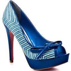Paris Hilton Beth - Blue Woven Patent ($100) ❤ liked on Polyvore