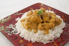 Pollo al curry con arroz basmati fácil