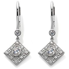 Xavier .86ct Absolute™ Round and Pavé Drop Earrings