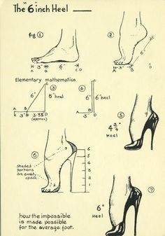 Diagram of a six inch heel. How to make the impossible possible for the average foot. Mode Vintage, Vintage Shoes, Vintage Lingerie, Retro Vintage, Shoe Boots, Shoes Heels, Pumps, Hoof Shoes, Bettie Page