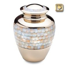 Mother of Pearl Cremation Urn | Metal Urns for Ashes & Artistic Cremation Urns by Loveurns