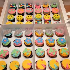 70 & 80's themed cupcakes