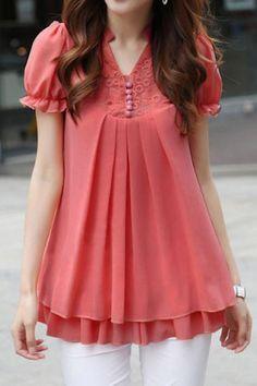 Stand Collar Short Sleeves Lace Splicing Solid Color Sweet Style Chiffon Women's Blouse – Michelle Sinha Stand Collar Short Sleeves Lace Splicing Solid Color Sweet Style Chiffon Women's Blouse sweet blouse Blouse Styles, Blouse Designs, Casual Dresses, Fashion Dresses, Women's Casual, Modelos Plus Size, Mode Hijab, Blouse Online, Short Tops