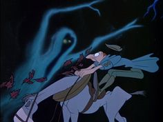 one of the scariest scenes disney ever made is Ichabod riding through the forest