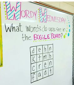 Did this in my classroom. Let's test some vocabulary skills! Boggle white board game for Wordy Wednesday. Classroom Activities, Classroom Organization, Classroom Management, Classroom Ideas, Fun Writing Activities, Teaching Themes, Literacy Activities, Ingles Kids, Story Starter