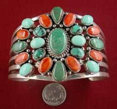 Green & orange stones. Southwest Sterling Silver from the Ugly Otter Trading Post