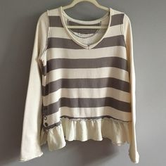 """FREE PEOPLE ruffled hem top Sweatshirt top. Grey and cream stripes. Oversized soft and cozy BOHO. Refer to pics for details.  Excellent used condition. """"WE THE FREE"""" Free People Tops Sweatshirts & Hoodies"""