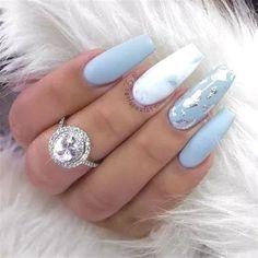 25 + › Ich bin absolut verliebt in diesen Nagellook. Babyblaue Nägel mit silber / chrom … I am absolutely in love with this nail look. Baby blue nails with silver / chrome … Marble Acrylic Nails, Acrylic Nail Designs, Nail Art Designs, Nails Design, Acrylic Nails For Fall, Blue Nails With Design, Acrylic Art, Prom Nails, Wedding Nails