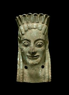 Bronze female protome. Front view. Greek, c. mid-6th century B.C. | Phoenix Ancient Art Gallery