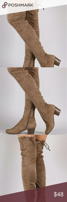 """Taupe Suede Over the Knee Boots These edgy boots feature an over the knee silhouette, stacked block heel, and an adjustable drawstring tie at collar for custom fit. Finished with a round closed-toe and cushioned insole. Pull-on construction with partial side zip closure.  Material: Vegan Suede (man-made) Sole: Synthetic  Heel Height: 2"""" (approx) Shaft Length: 25"""" (including heel) Top Opening Circumference: 15"""" (approx) Starlight footwear  Shoes Over the Knee Boots"""