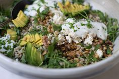 California Barley Bowl with avocado, arugula or bean sprouts, cheese, toasted nuts and seeds, yogurt-based dressing ~ from Megan Gordon's cookbook, Whole Grain Mornings.