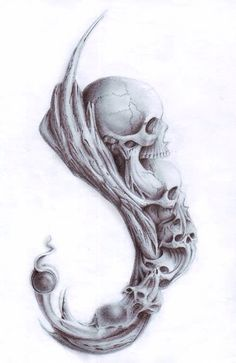 Hook of skulls Pirate Skull Tattoos, Evil Skull Tattoo, Skull Tattoo Flowers, Filigree Tattoo, Evil Tattoos, Skull Tattoo Design, Skull Design, Smoke Tattoo, 4 Tattoo
