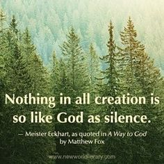 """Nothing in all creation is so like God, as silence."" - #MeisterEckhart as quoted in A WAY TO GOD by #MatthewFox #nature #mothernature #forest #trees #peaceandquiet #silence #God #divine #bookquotes #sacredspace #innerpeace #chuch #amen #solitude"