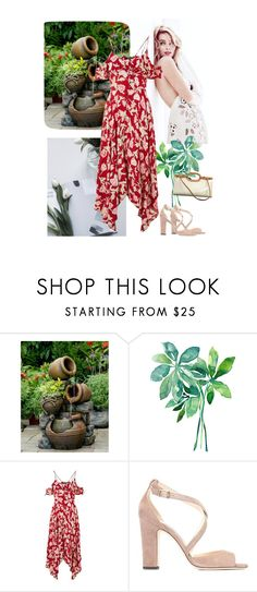 """""""Flowy dress"""" by fivana ❤ liked on Polyvore featuring Jeco, Topshop, Jimmy Choo and Louis Vuitton"""