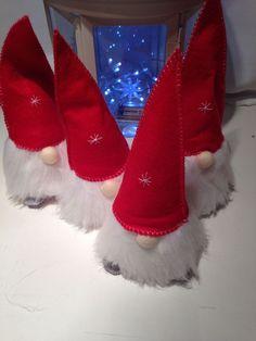 Handmade Scandinavian Tomte - Christmas Gnome. Red Felt & White Fur Ornament