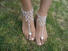 Shining Crystal barefoot sandals / anklet foot Beach Wedding Bridal / Bridesmaid