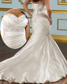 Glamorous Satin Mermaid Sweetheart Neckline Plus Size Wedding Dress 2014 With Beads & Lace Appliques