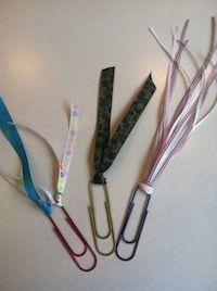 Classroom DIY: DIY Clip Bookmarks  http://www.classroomdiy.com/2012/08/diy-clip-bookmarks.html
