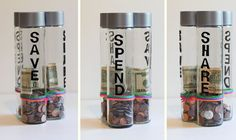 Teaching Kids About Money: DIY Spend, Save & Share Piggy Banks