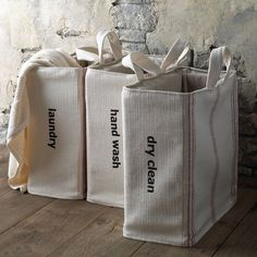 These handcrafted totes make it easy to separate your laundry.