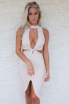 Halcyon Sand Sleeveless Dress With Side Cutouts