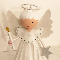 Angel by marydollpins dolls clothes pin dolls little dolls Christmas Angel Crafts, Christmas Art, Christmas Ornaments, Victorian Christmas, Christmas Ideas, Clothes Pin Ornaments, Doll Crafts, Kid Crafts, Paper Crafts
