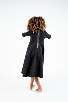 HELGA SoLRUN KIDS ponte long sleeve A-line Dress detailed with circle  pockets…
