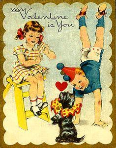 Vintage Valentine Boy & Girl Dick and Jane