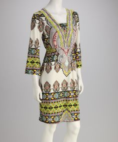 Take a look at this White Mark Yellow & Beige Damask Dress on zulily today!