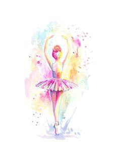 Bailarina Tippy Toes impresión ballet acuarela pintura
