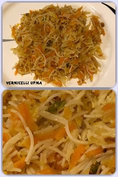 Vermicelli upma is a popular light evening snack or served as a breakfast, made with vermicelli and cabbage, carrots and/or peas. Indian Food Recipes, Vegan Recipes, Ethnic Recipes, Light Evening Snacks, Carrots, Cabbage, Vegetarian, Tasty, Homemade