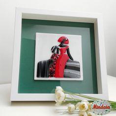 Menina Rojo y Negro en vidrio fusing. Menina  por ElRincondeMindaia