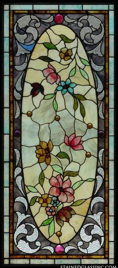 Victorian Floral Oval Faux Stained Glass Window Film
