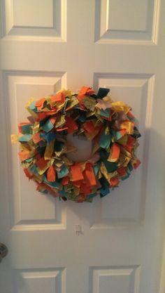 Gender neutral rag wreath for baby's room