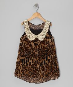 Take a look at this Leopard Pleated Sequin Collar Dress - Toddler & Girls on zulily today!