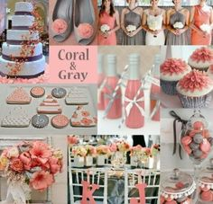 Coral y gris