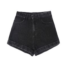 Denim shorts - Cloe (€57) ❤ liked on Polyvore featuring shorts, bottoms, pants, short, black, denim shorts, short jean shorts, jean shorts, short shorts and denim short shorts