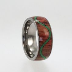 Titanium Wood Ring with Malachite Stone inlay in by jewelrybyjohan, $326.00